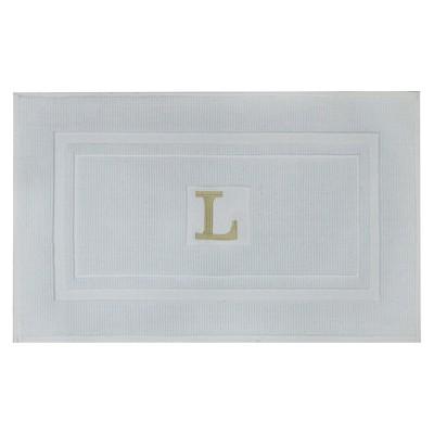 Bath Mat Monogram L White - Threshold™