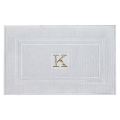 Bath Mat Monogram K White - Threshold™