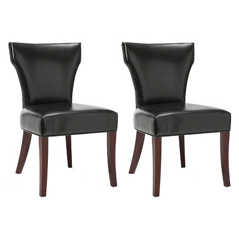 Ryan Leather Side Chair Wood Black Set of 2 Tar