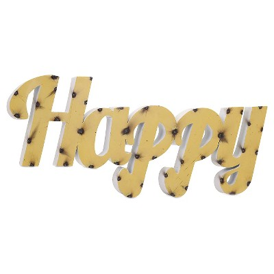 Aurora Happy Metal Decorative Wall Sculpture - Yellow