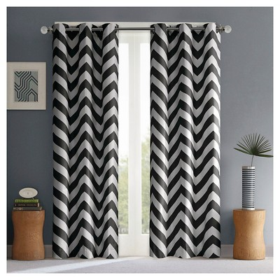 "Leo Chevron Curtain Panel Pair - Black (42""x63"")"