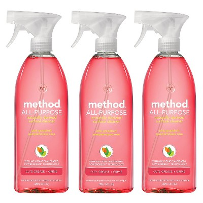 Method Pink Grapefruit All Purpose Surface Cleaner Pack Of 3 - 28 Oz Each