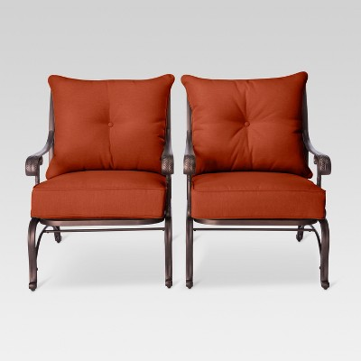 Folwell 2-Piece Cast Aluminum Patio Club Chair Orange - Threshold™