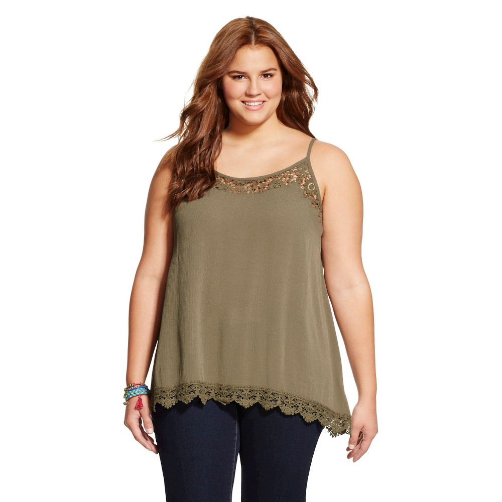 Women's Plus Size Tank Tops Olive (Green) - Mossimo Supply Co.(Juniors')
