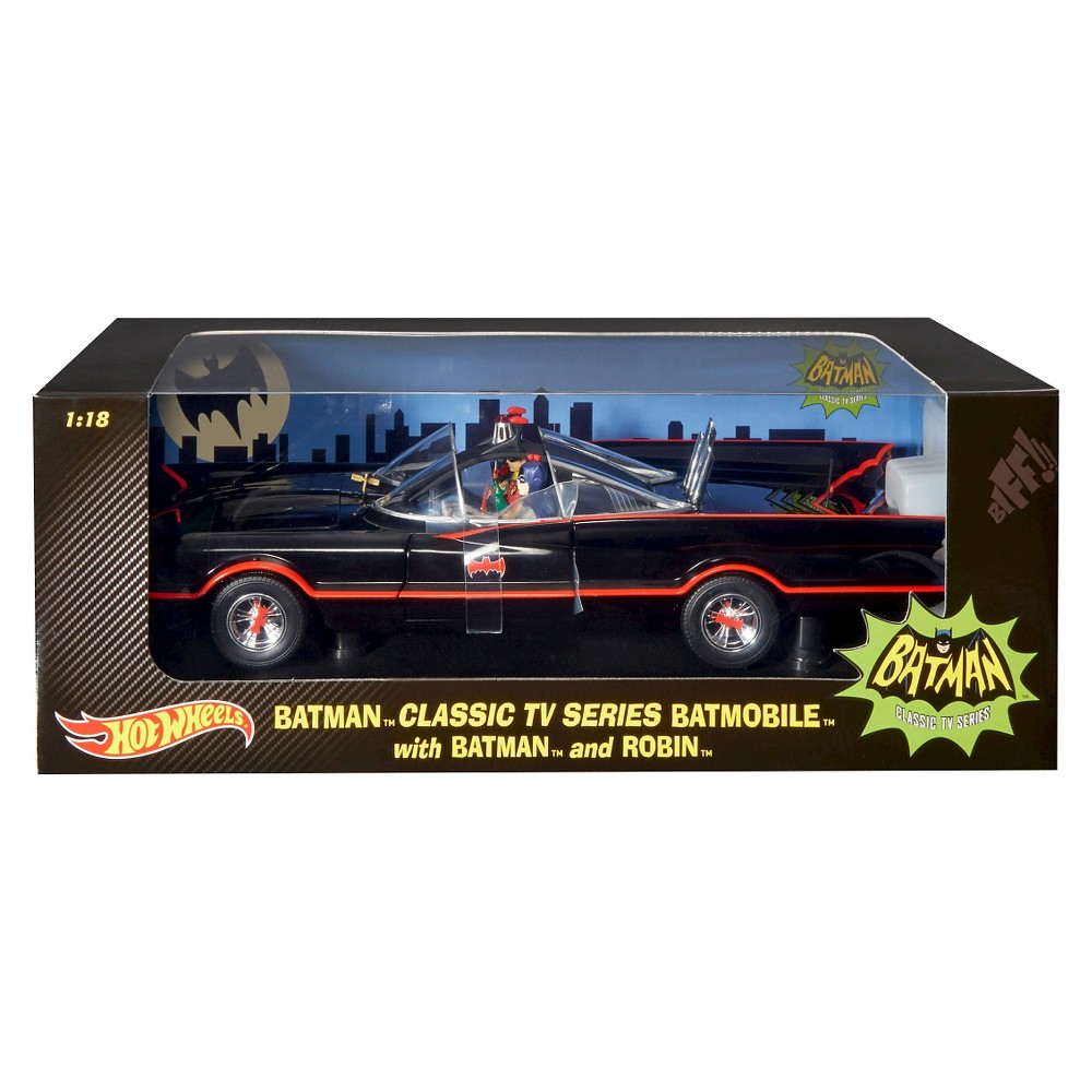 Hot Wheel Elite 1966 Batmobile Die-Cast w/ 2 Figures - 1:18 Scale