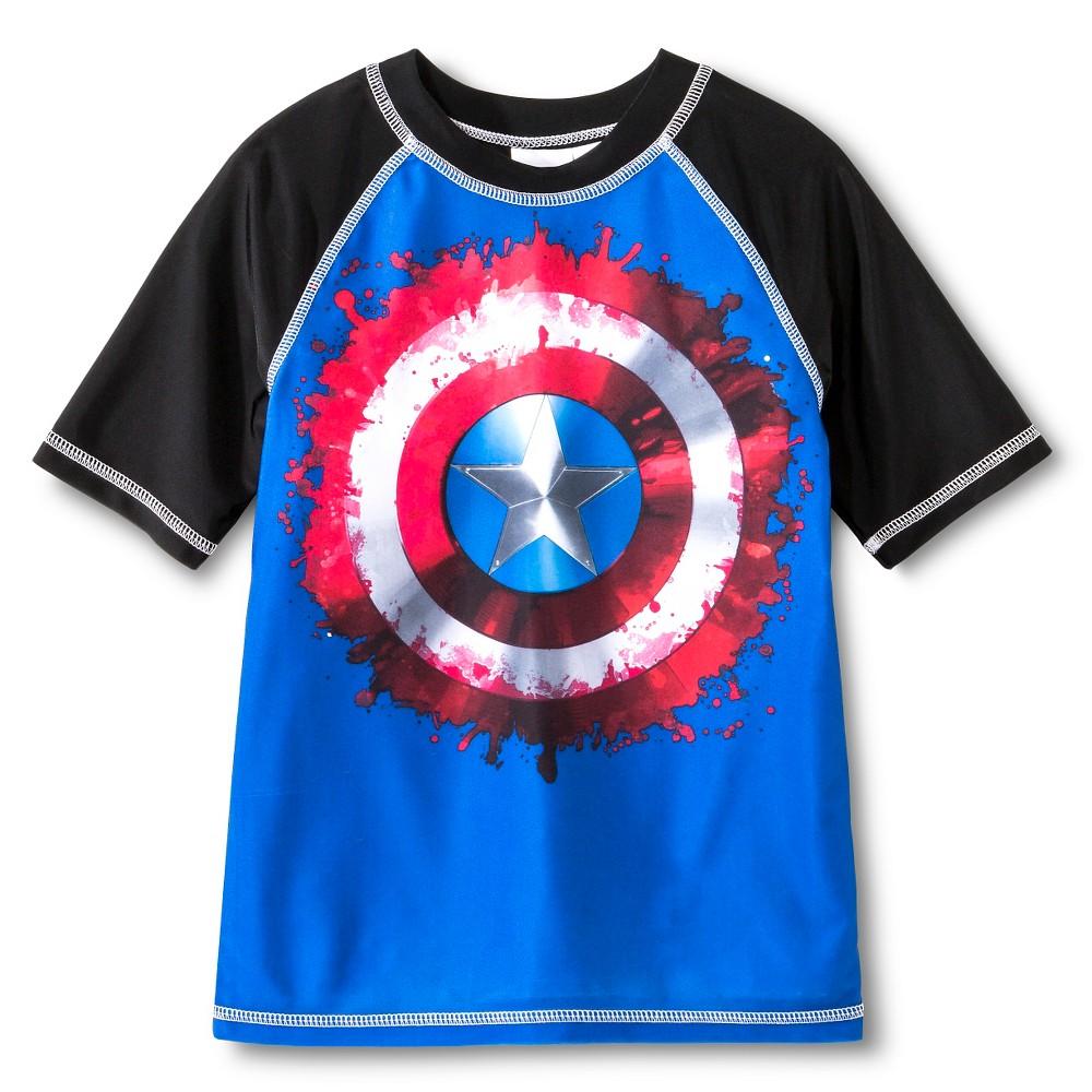 Captain America Boys' Shield Rash Guard Awesome Blue M