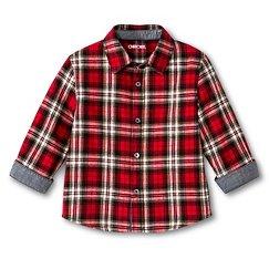 Toddler Boys' Plaid Shirt- Red - Cherokee®