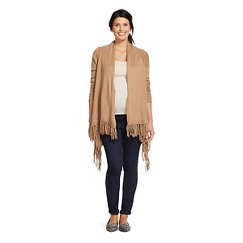 Maternity Oatmeal Fringed Wrap Sweater - Liz Lange® for Target