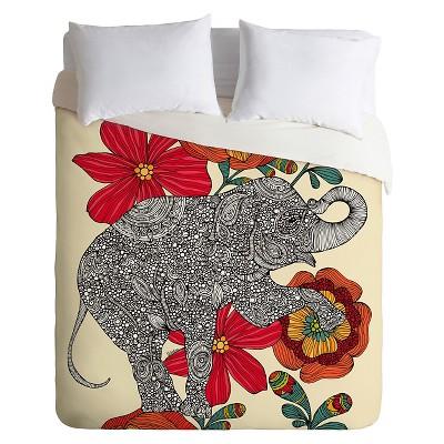 DENY Designs Valentina Ramos Spring Garden Elephant Duvet - Red (Queen)