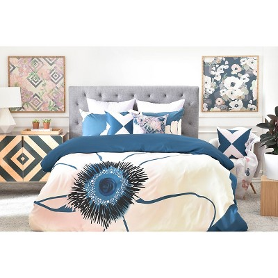 Khristian A Howell Fleur Floral Duvet Cover (Queen) Blue - DENY Designs®