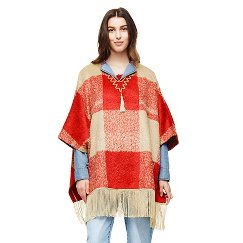 Adam Lippes for Target Mohair Fringe Poncho - Red Plaid