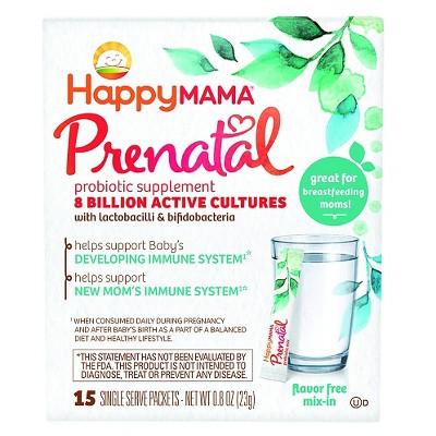 HappyMama Prenatal Probiotic Supplement Flavor Free Mix In Packets - 15 Count