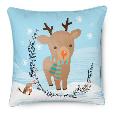 "Winter Wonderland Reindeer Pillow - Multi-Colored (14""x18"")"