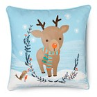 "Winter Wonderland Reindeer Pillow - Multi-Colored (14""x18"")"
