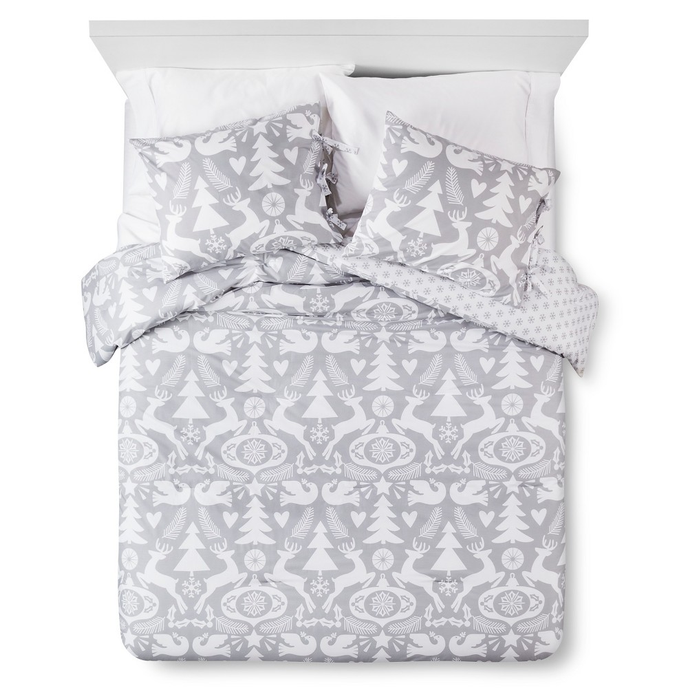 Dasher Comforter and Pillow Sham Set - Silver/White (Twin)