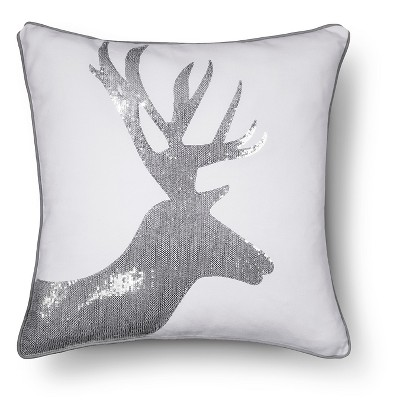 "Dasher Sequin Deer Pillow - Cream (20""x20"")"
