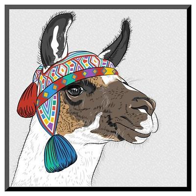 Art.com Vector Sketch of Alpaca by kavalenkava volha - Mounted Print