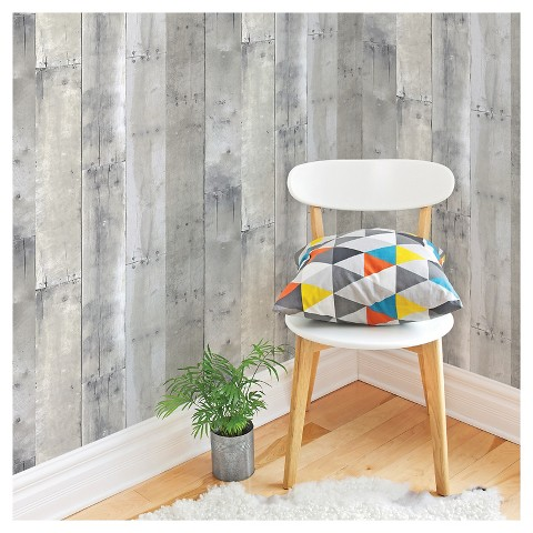 devine color peel and stick wallpaper reclaimed wood pattern mirage