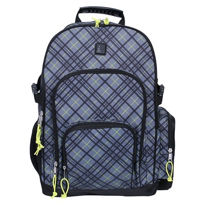 """iPack 17.5"""" Plaid Backpack - Grey/Yellow"""