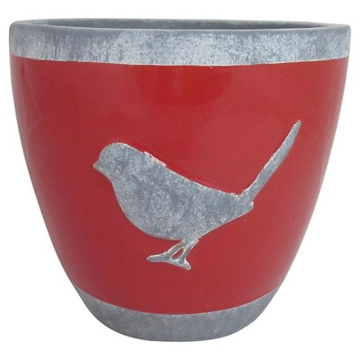 Threshold™ Glazed Ceramic Planter with Bird Decal - Red