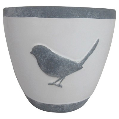 Threshold™ Glazed Ceramic Planter with Bird Decal - White