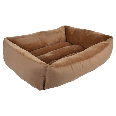 Rectangular Cuddler Pet Bed Copper Brown M - Boots & Barkley™