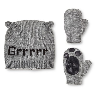Infant Boys' Bear Beanie and Mittens Set Grey - 12M-24M