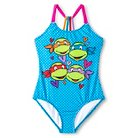 Girls' Nickelodeon TMNT T-Back One-Piece Swimsuit Blue Jay