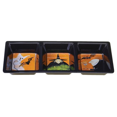 "Certified International Eat, Drink, Be Scary - Melamine Rectangular 3-section tray - 14.5"" x 5.75"""
