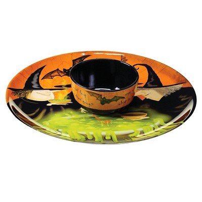 "Certified International Eat, Drink, Be Scary - Melamine Round 2-pc Chip and Dip - Bowl 5"" x 2.5"""
