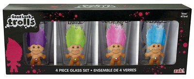 Trolls Multicolored Trolls Pint set 4 pack  - Beverate