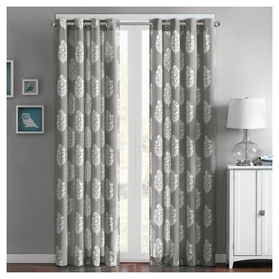 "Naira 100% Cotton Printed Curtain Panel - Grey (50""x63"")"