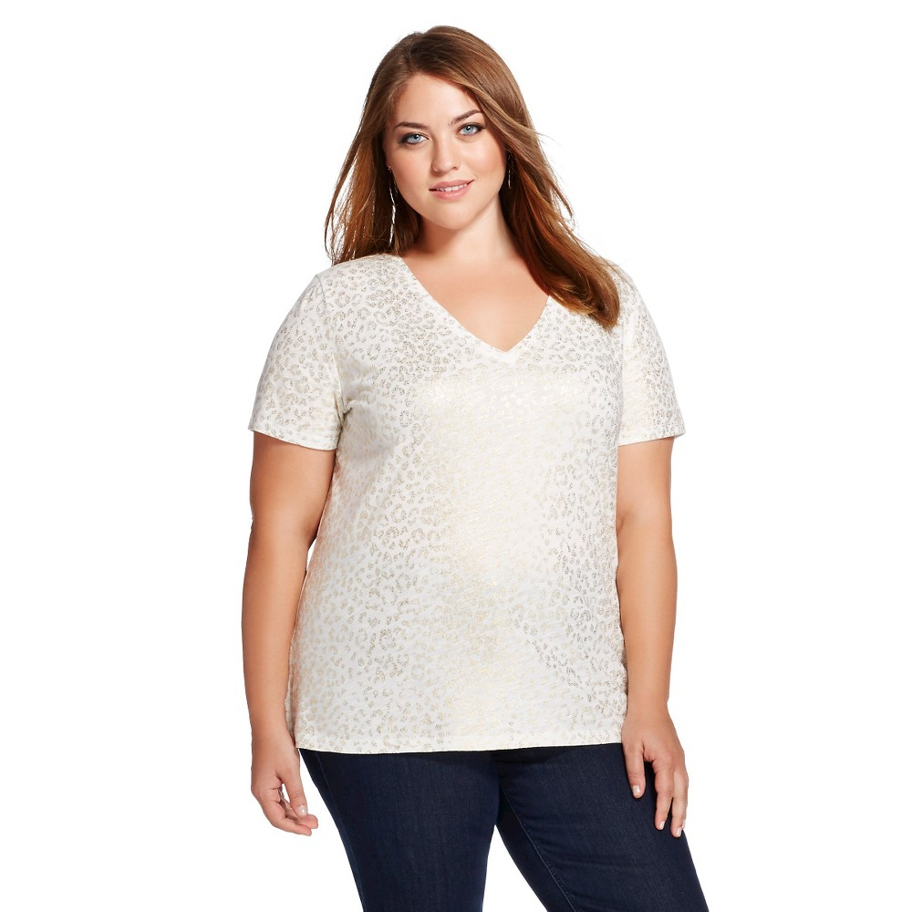 Women's Plus Size Vintage Vee Tee - Cream/Gold Foil Animal Print - Merona, Sour Cream