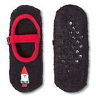 Women's Mary Jane Slipper Cozy Holiday Black with Gnome - One Size