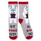 Women's Crew Sock Holiday Gray with Fuzzy Yeti - One Size