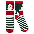 Women's Crew Sock Holiday Green Stripe & Santa - One Size