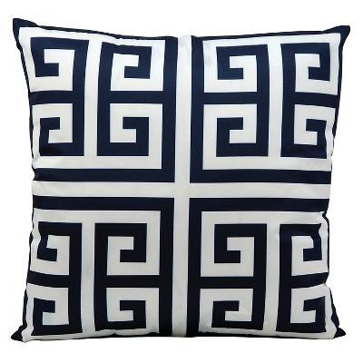 """Greek Key Indoor/Outdoor Decorative Pillow - Navy - 20"""" x 20"""""""