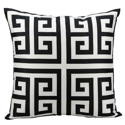 """Greek Key Indoor/Outdoor Decorative Pillow - Black - 20"""" x 20"""""""