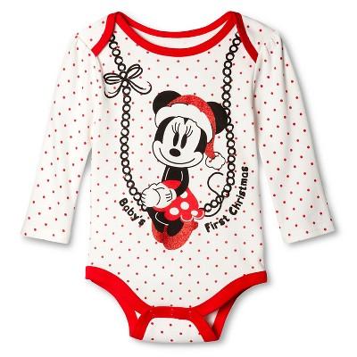 Disney® Minnie Newborn Girls' Bodysuit - Light Off-White 0-3 M