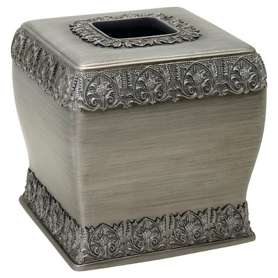 India Ink Alexa Resin Brushed Silver Traditional Tissue Cover - Spa Blue/Silver
