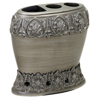 India Ink Alexa Resin Brushed Silver Traditional Toothbrush Holder - Spa Blue/Silver