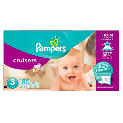 Pampers Cruisers Diapers One Month Supply Pack Size 3 (180 Count)