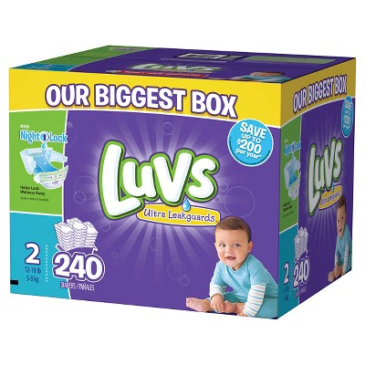 Luvs Ultra Leakguards Diapers Box Size 2 (240 Count)