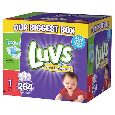 Luvs Ultra Leakguards Diapers Box Size 1 (264 Count)