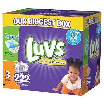 Luvs Ultra Leakguards Diapers Box Size 3 (222 Count)