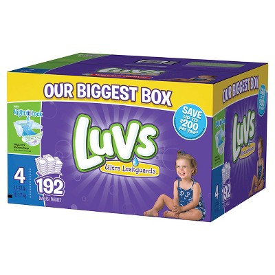 Luvs Ultra Leakguards Diapers Box Size 4 (192 Count)