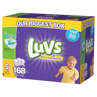 Luvs Ultra Leakguards Diapers Box Size 5 (168 Count)