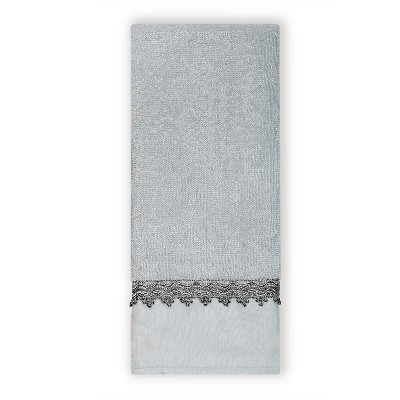 "India Ink Alexa Silver Traditional Hand Towel - Spa Blue/Silver (16""x26"")"