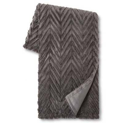 "Rock Garden Chevron Faux Fur Throw (50""x60"") Gray - Xhilaration™"