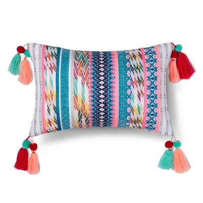 "Yarn Dyed Texture Tassel Pillow (17.7""x10.4"") Multicolor - Xhilaration™"